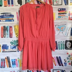 NWT Banana Republic Smocked Coral Chiffon Dress S